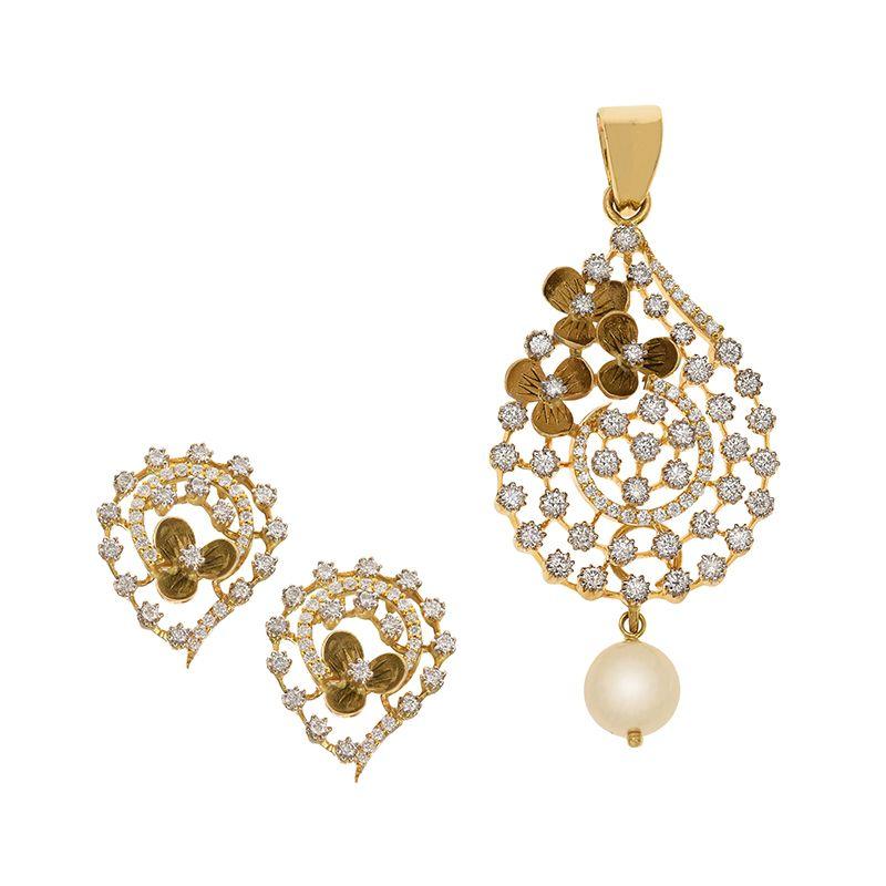 18k Diamond Blossom Diamond Pendant Set