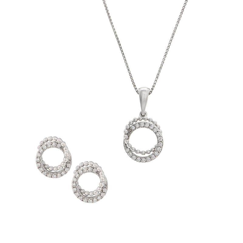 18k Diamond Infinity Circle Pendant Set