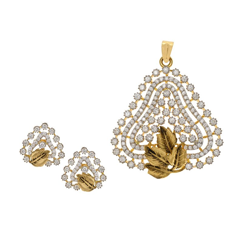 18k Diamond Elivia Diamond Pendant Set