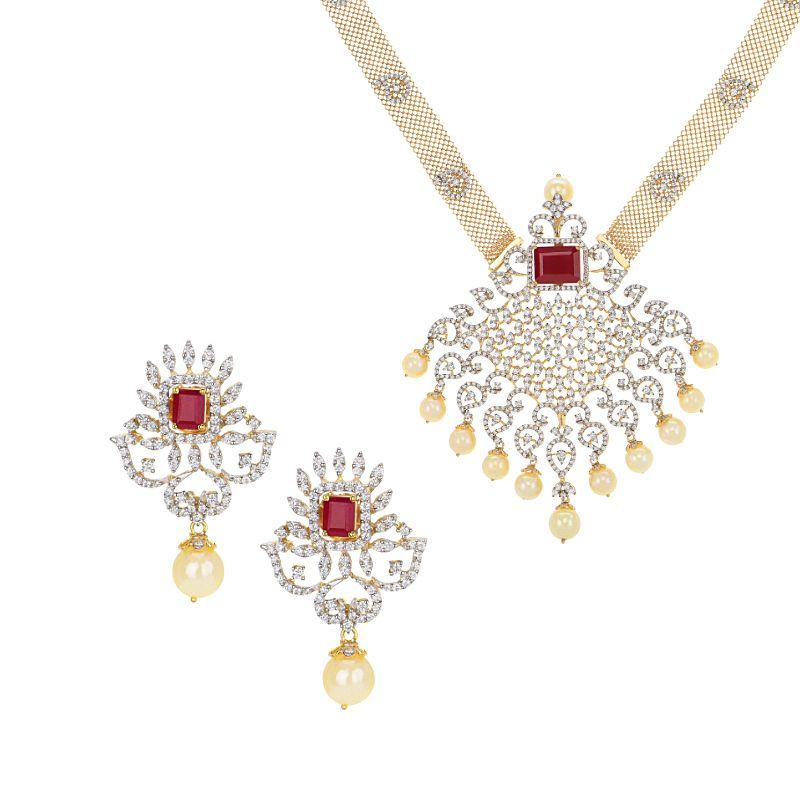 18k Diamond Diamond Pearl Gems Necklace