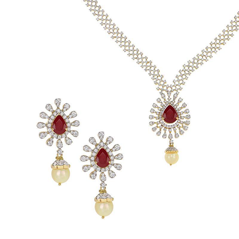 18k Diamond Virve Diamond Gems Necklace