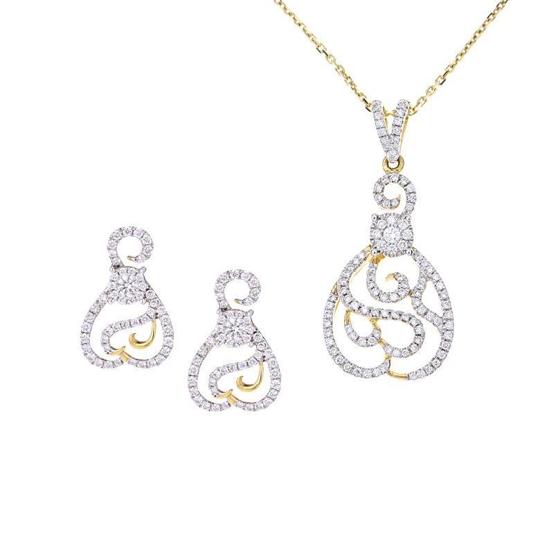 18k Diamond Swirls Pendant Necklace