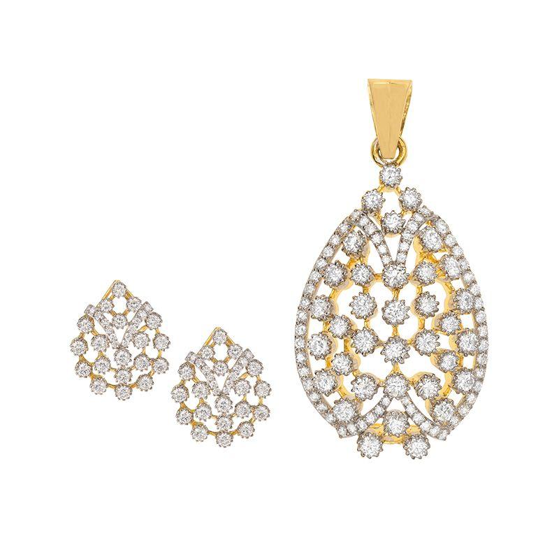 18k Diamond Clusters Diamond Pendant Set