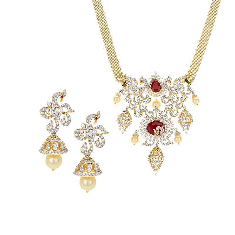 18k Diamond Diamond Peacocks Gems Necklace