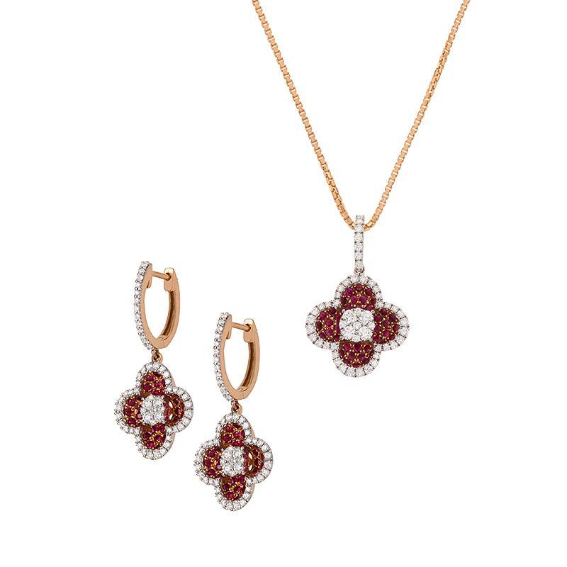 18k Diamond Diamond Clover Pendant Necklace