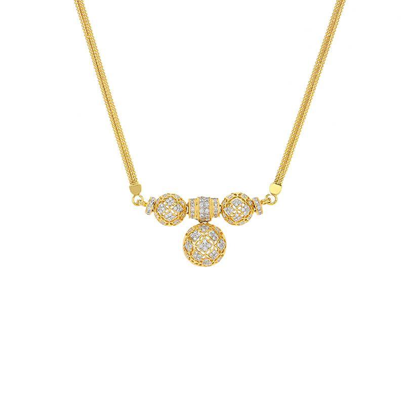 18k Diamond Shimmering Spheres Diamond Necklace