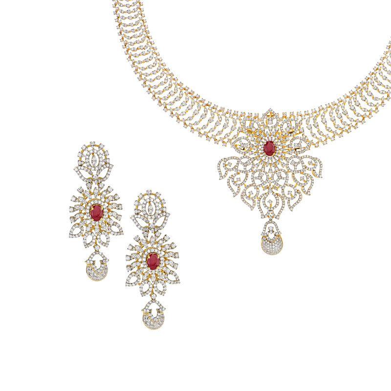 18k Diamond Aceline Diamond Gems Necklace
