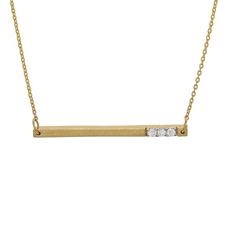 18k Diamond 3-Stones Bar Necklace