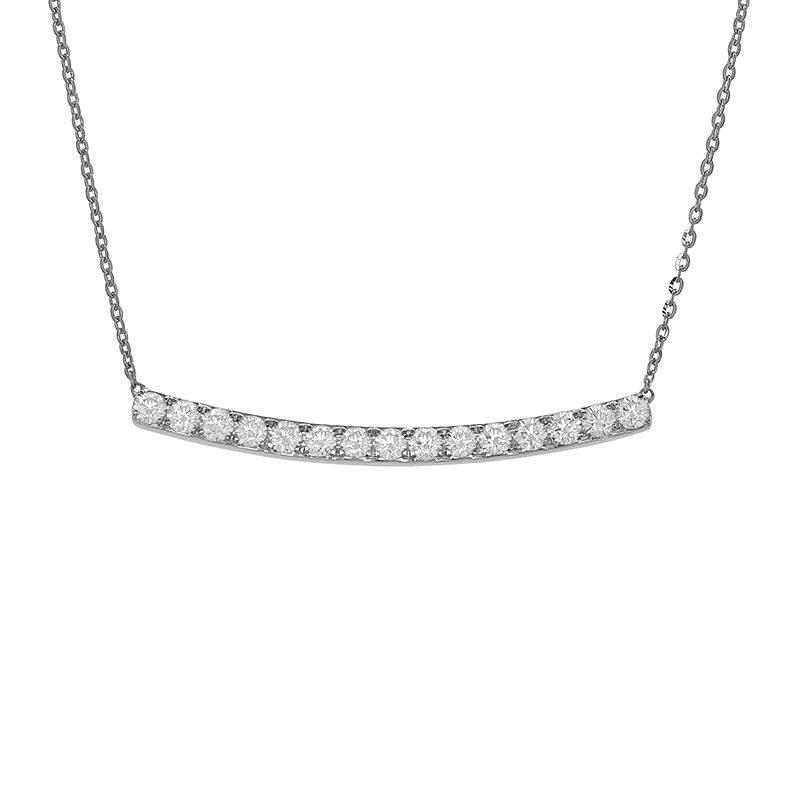 18k Diamond Curved Diamond Bar necklace