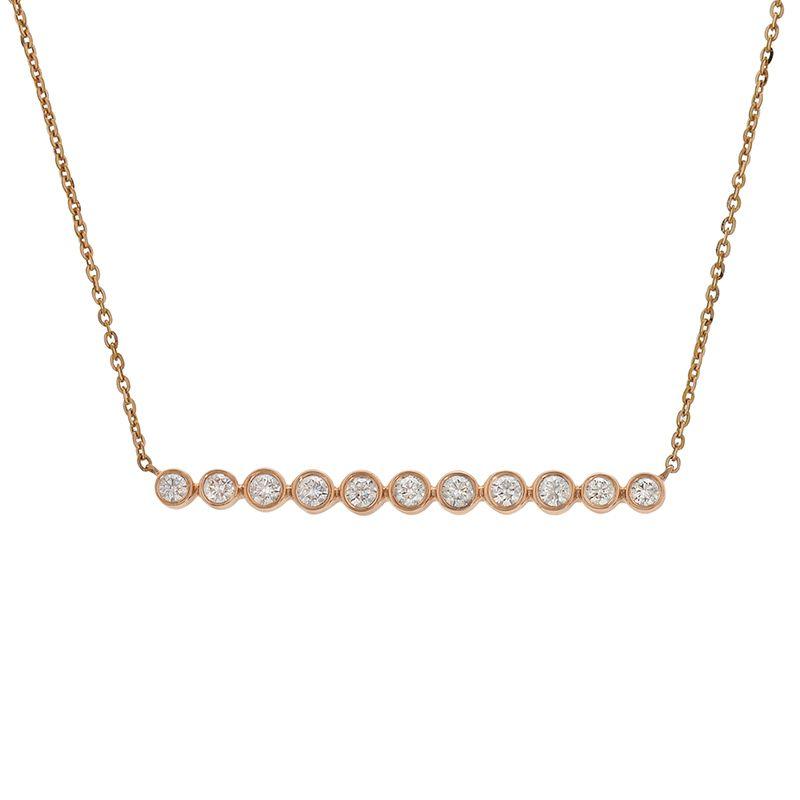 18k Diamond Horizontal Diamond Bar Necklace