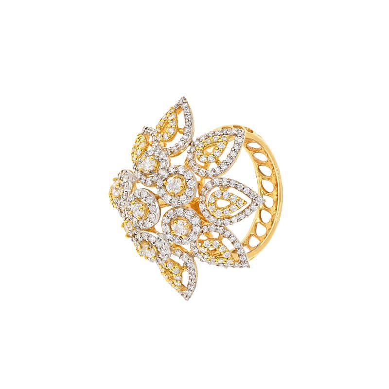 18k Diamond Florett Diamond Cocktail Ring