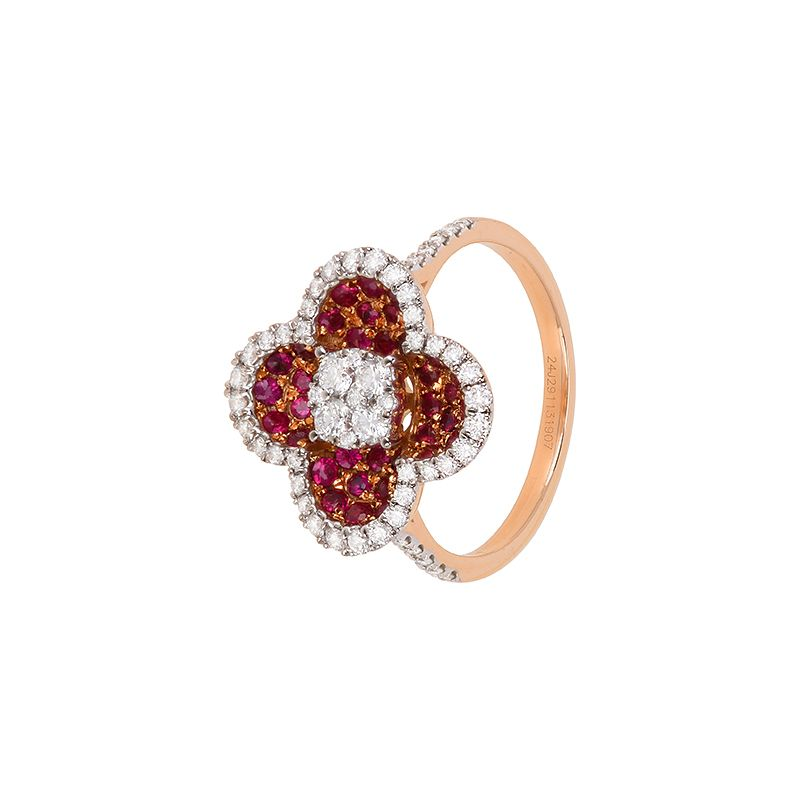 18k Diamond Diamond Clover Ring