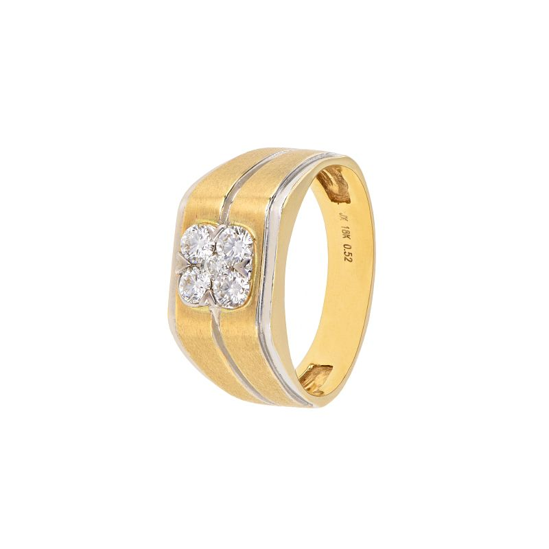18k Diamond Two-Tone Cluster Diamond Ring