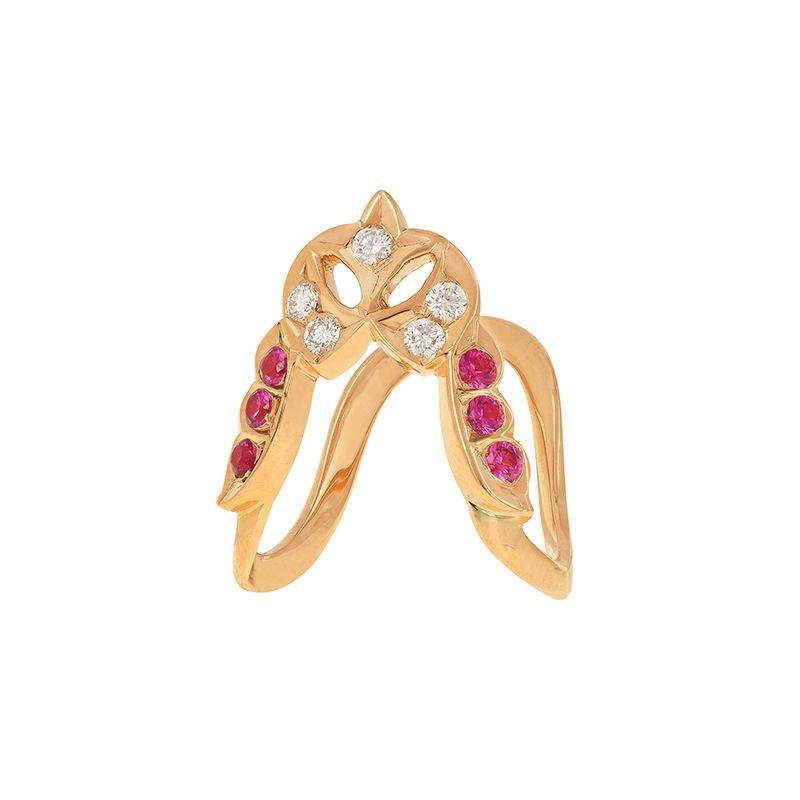 22k Diamond Diamond Ruby Vanki Ring
