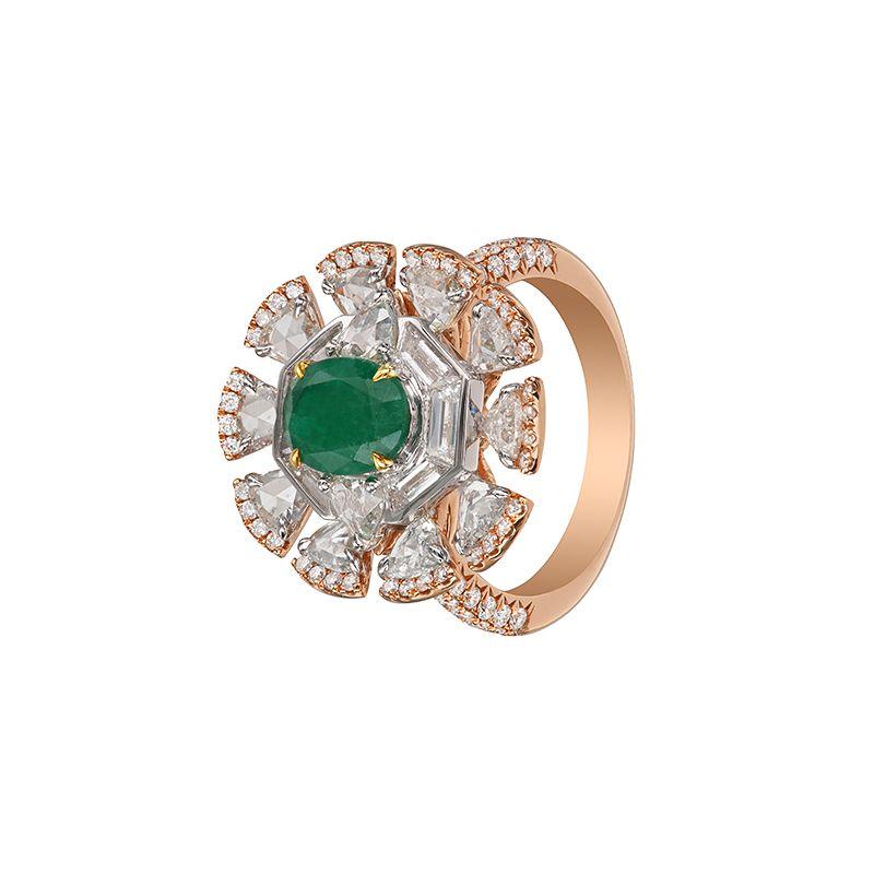 18k Diamond Emerald Diamond Cocktail Ring