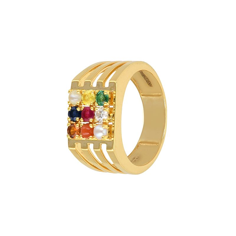 18k Diamond Navaratna Men's Diamond Ring