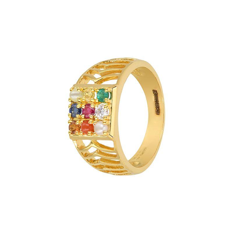 18k Diamond Navaratna Gems Ring