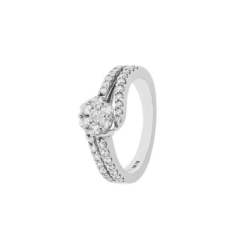 18k Diamond Swirl Diamond Engagement Ring