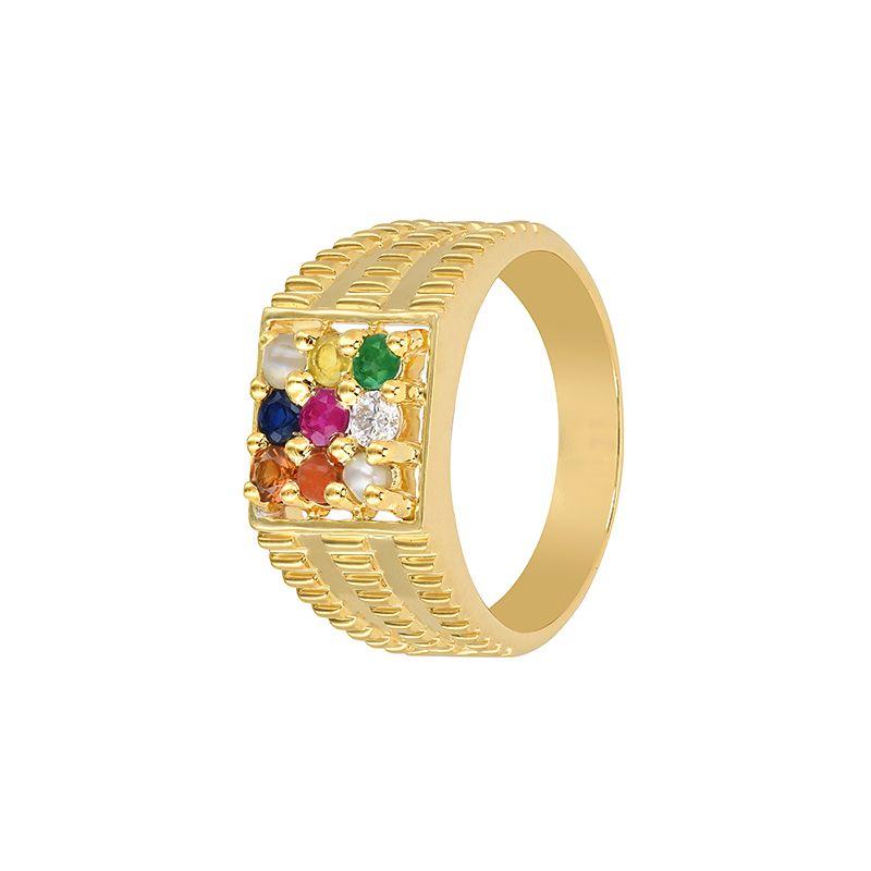 18k Diamond Majestic Navratan Ring