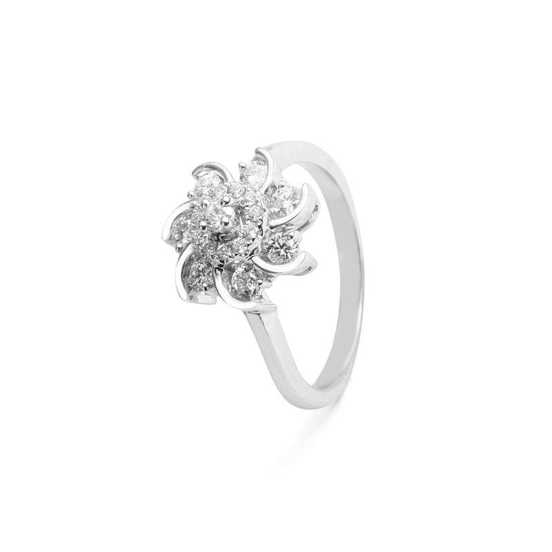 18k Diamond Floret Design Diamond Ring