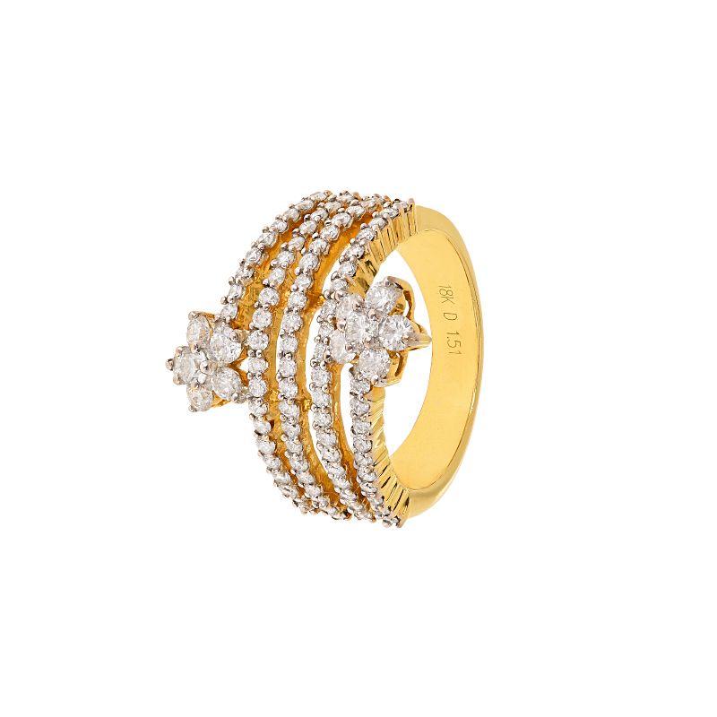 18k Diamond Spiral Floral Diamond Ring