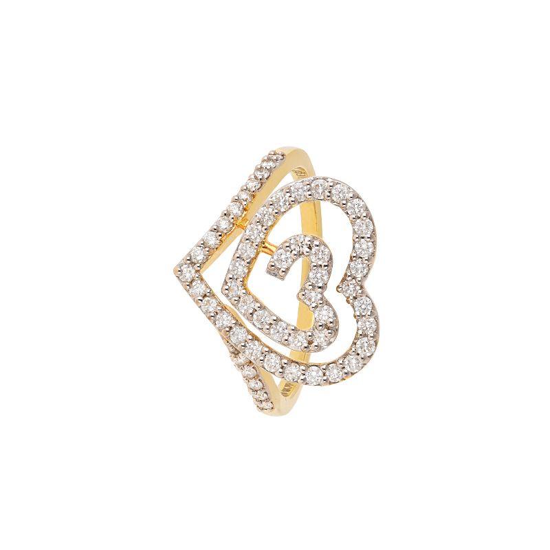 18k Diamond Swirl Heart Diamond Ring