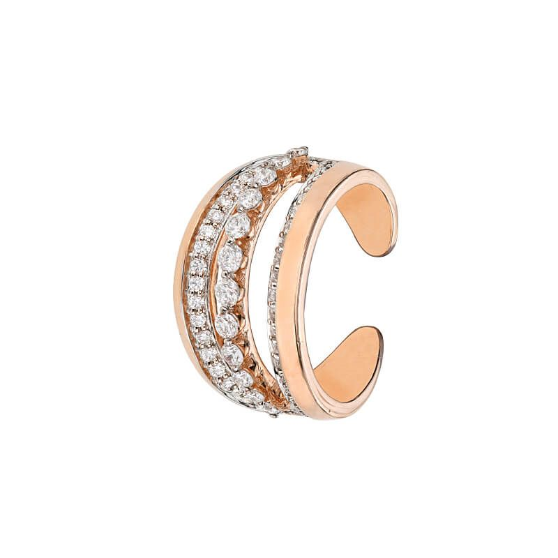 18k Diamond Diamond Cocktail Cuff Ring