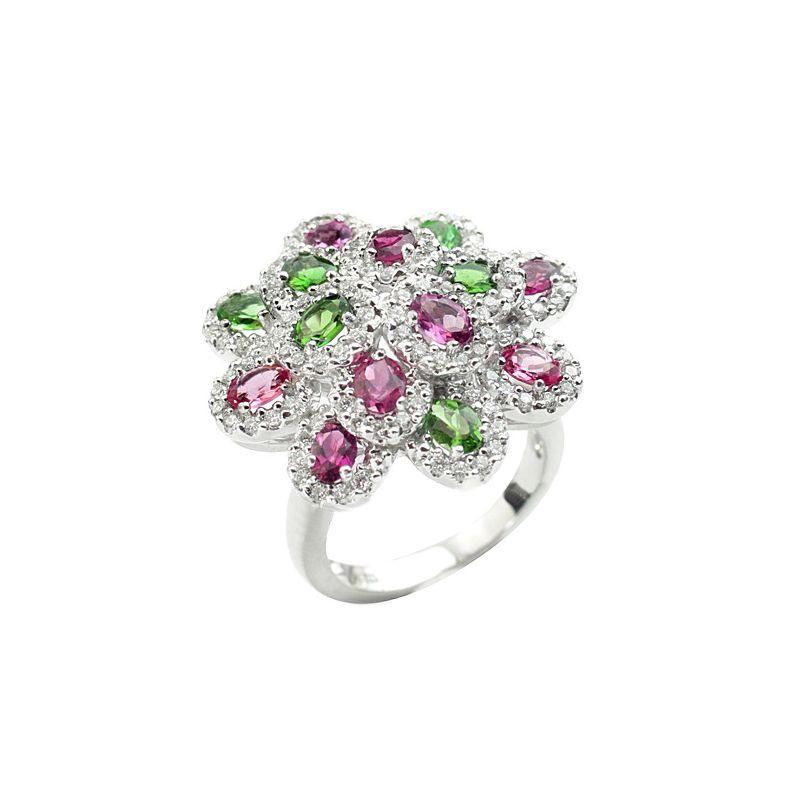 18k Diamond Gemstone Cocktail Ring