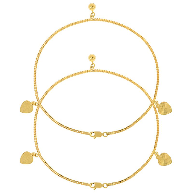 22k Gold Reversible Hearts Gold Anklets
