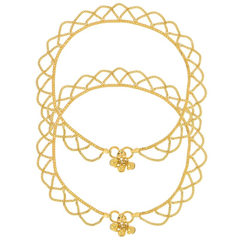 22k Gold Loop Swirl Chain Anklets