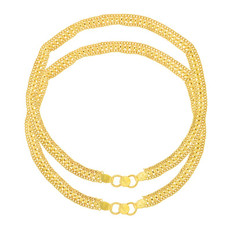 22k Gold Flat Beaded Chain Anklets