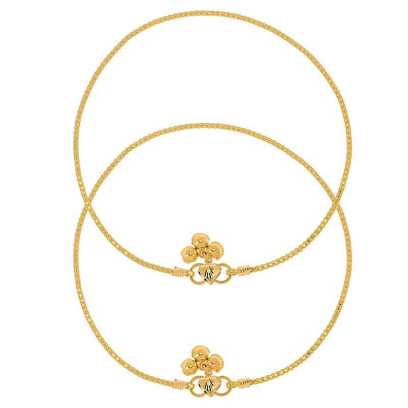 22k Gold Sleek Chain Gold Anklets