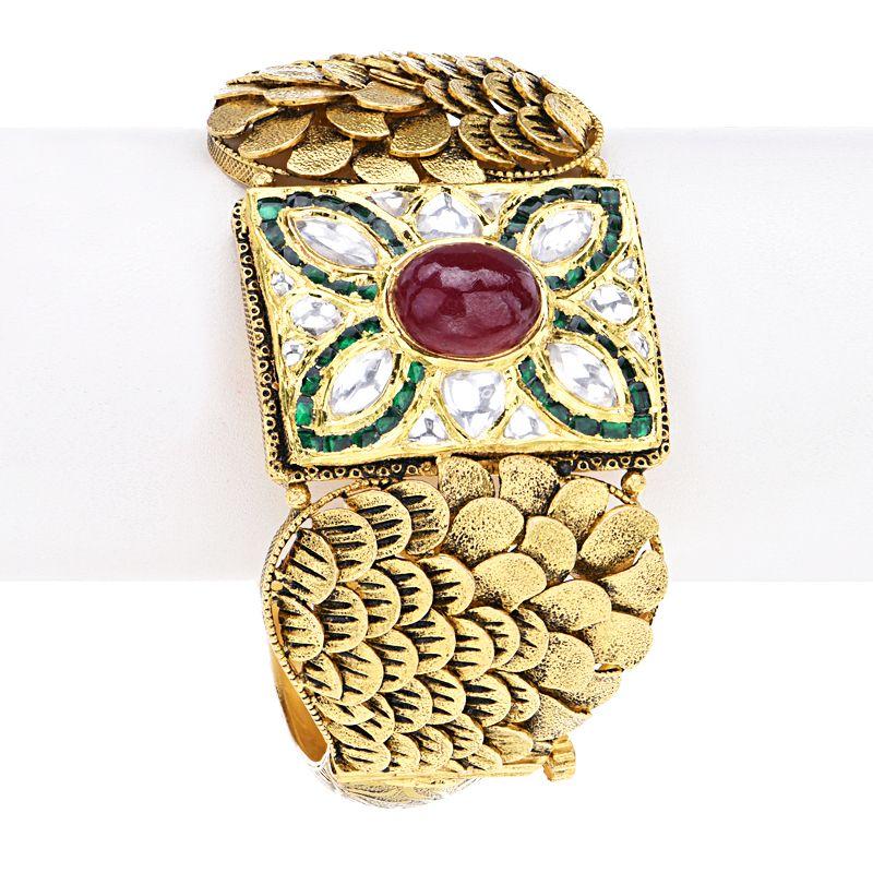 22k Gold Manvi Antique Bangle Bracelet