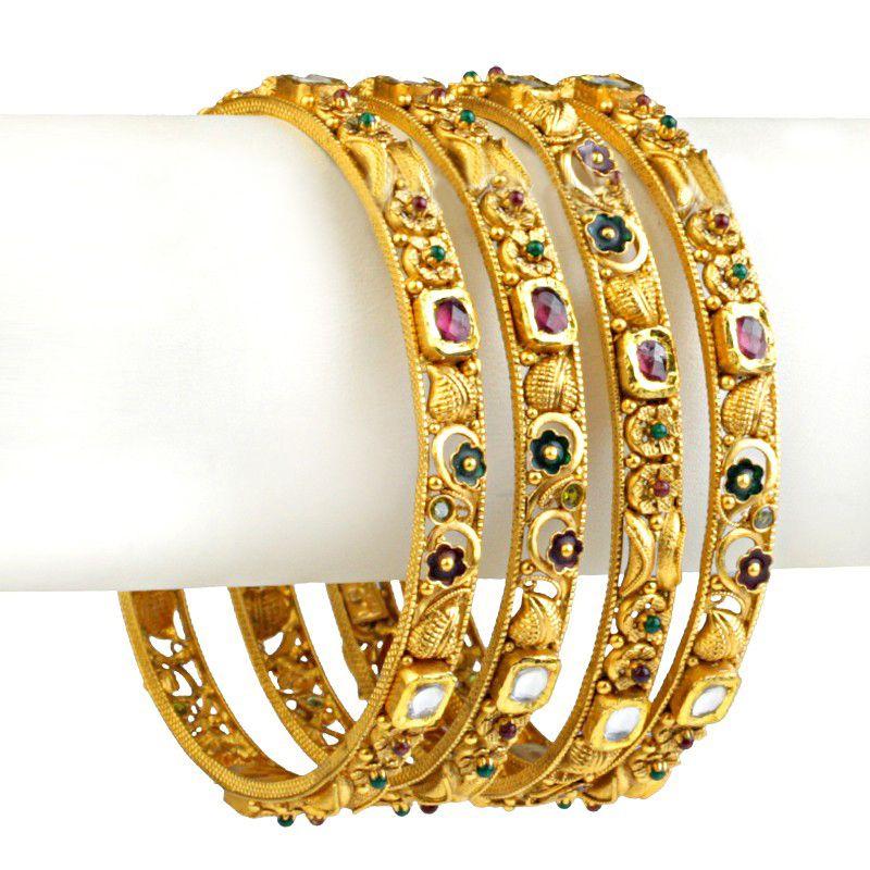 22k Gold Kundan Antique Gold Bangles