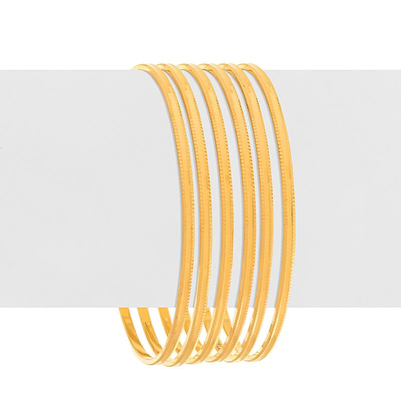 22k Gold Plain Gold Milgrain Bangles