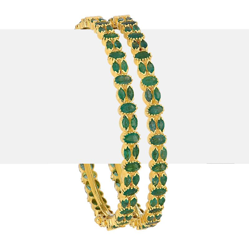 22k Gold Emerald Gemstone Bangles