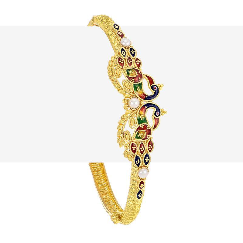 22k Gold Enamel Peacock Bangle Bracelet