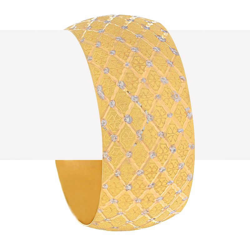 22k Gold Checkered Wide Gold Bangle