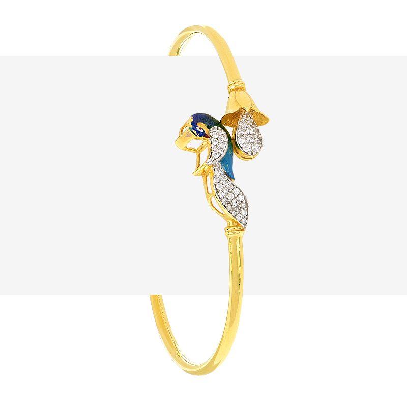 22k Gold Colorful CZ Peacock Bracelet