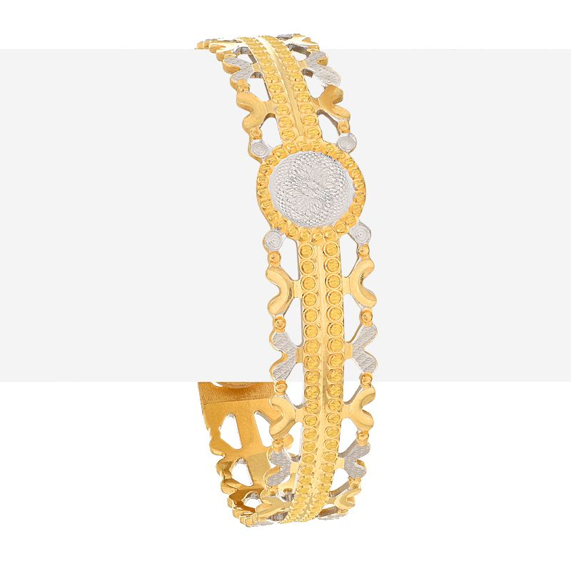 22k Gold Designer Two-Tone Bangle