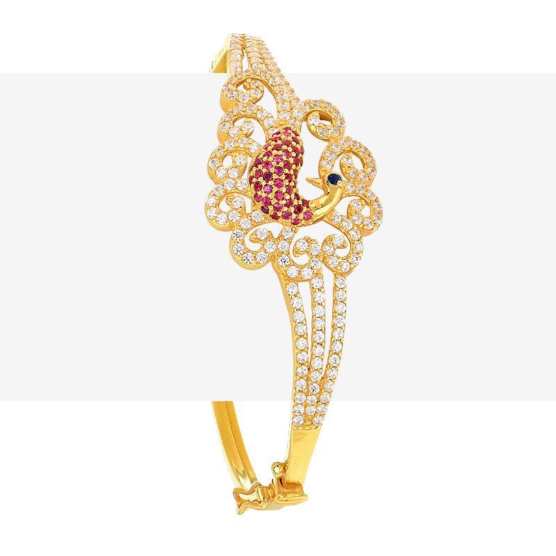 22k Gold Gravia Peacock Bangle Bracelet
