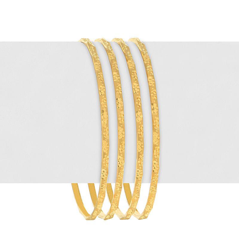 22k Gold Sleek Embossed Bangles