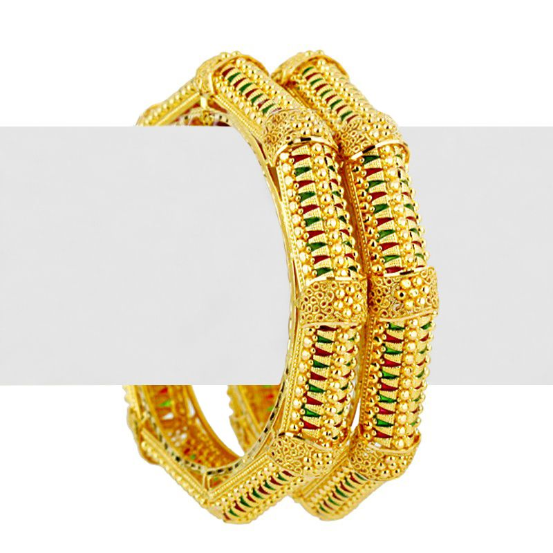 22k Gold Wavy Enamel Designer Bangles