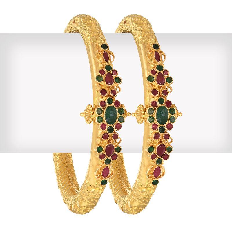 22k Gold Ruby Emerald Pipe Bangles