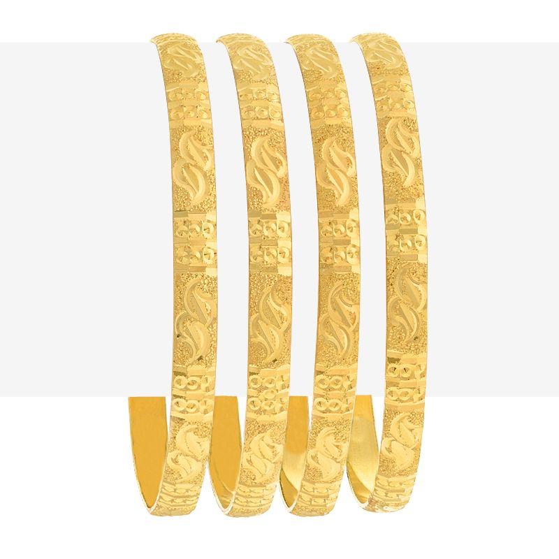 22k Gold Glitz Embossed Gold Bangles