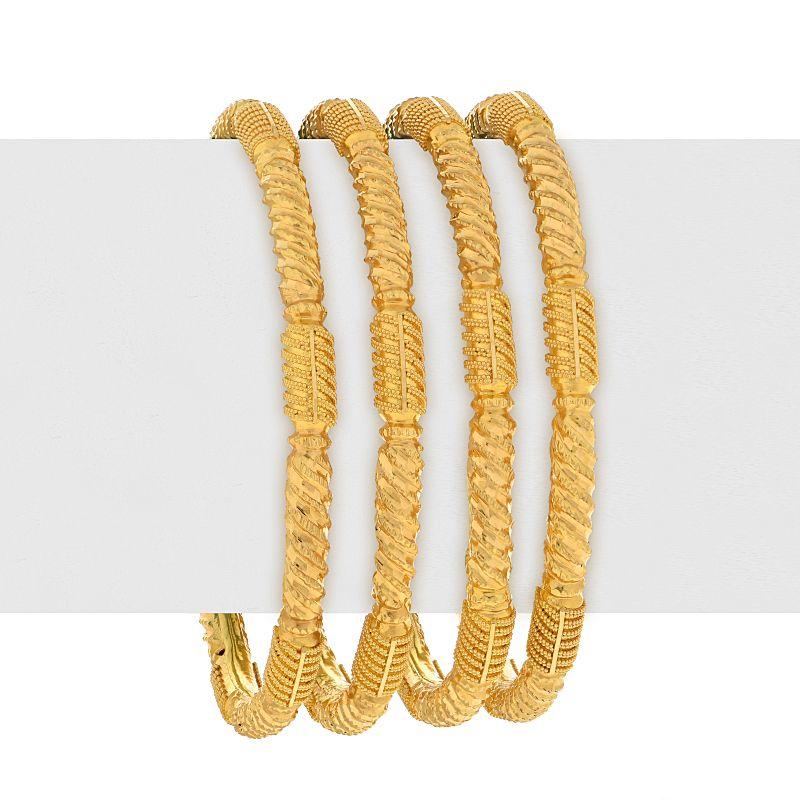 22k Gold Glossy Detailed Gold Bangles