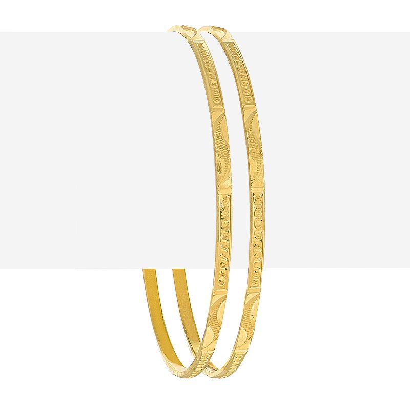 22k Gold Alluring Textured Bangles Pair