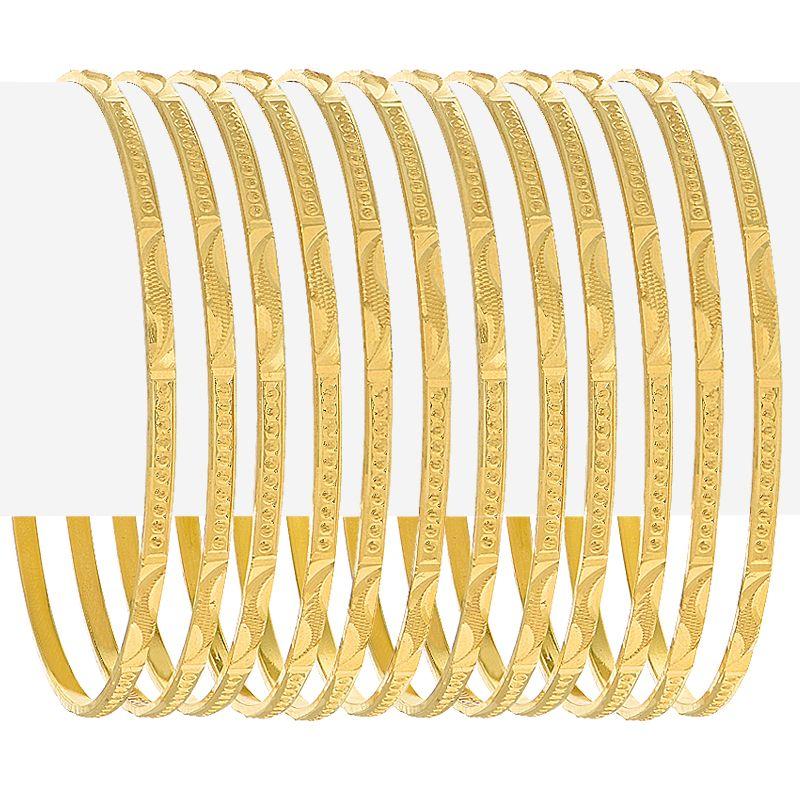 22k Gold Alluring Textured Gold Bangles