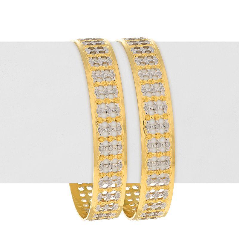 22k Gold Two-Tone Dots Bangles