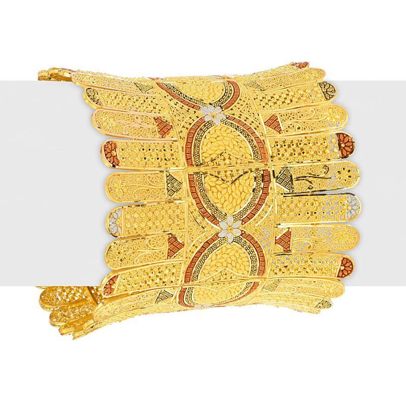 22k Gold Fancy Bridal Cuff Bangle